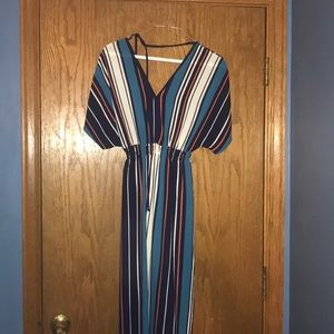 Striped maxi dress with back tie